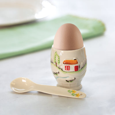 Belleek Connemara Egg Cup and Spoon