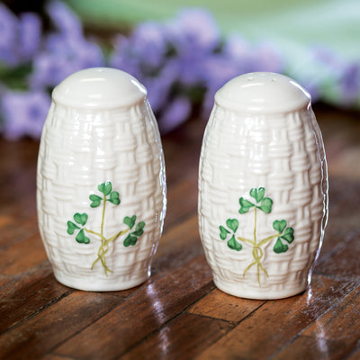 Belleek Shamrock Salt and Pepper Set