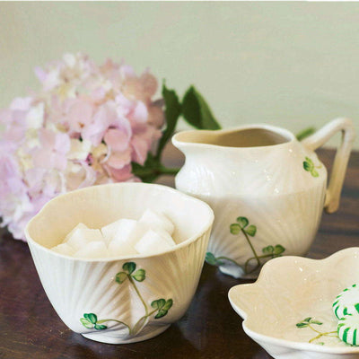 Belleek Harp Shamrock Sugar and Creamer Set