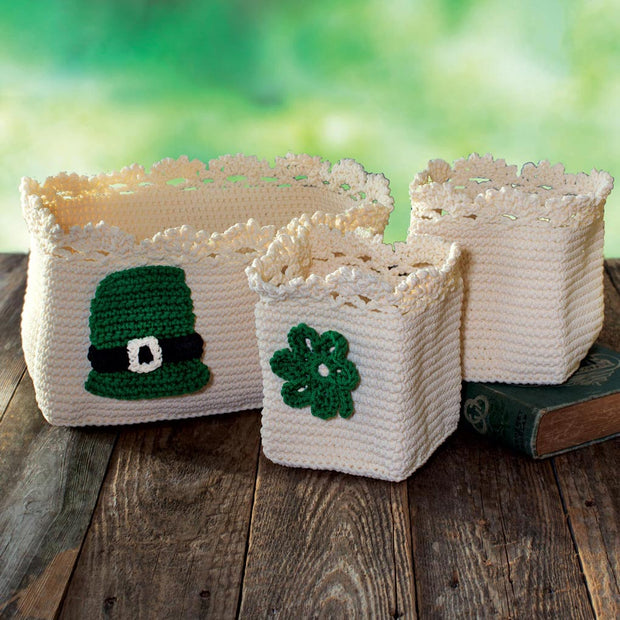 Crochet Baskets with Irish Charms