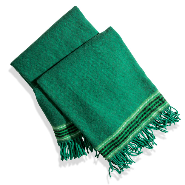 Green Blanket with Stripe