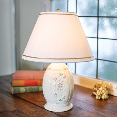 Belleek Irish Flax Lamp and Shade