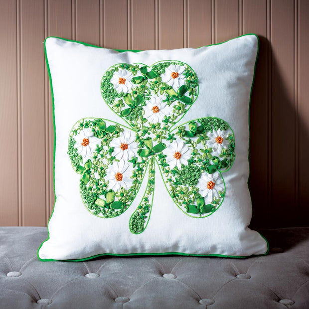 Shamrock Ribbon Art Pillow
