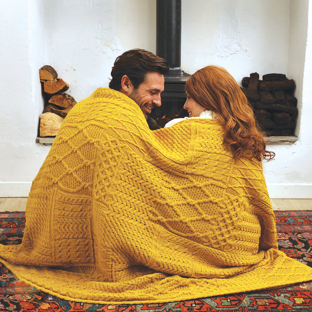 Mustard Aran Knit Throw