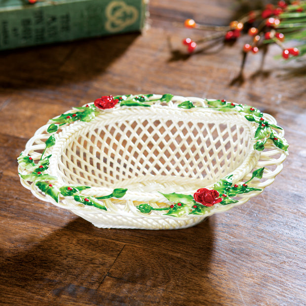 Belleek Winter Flower Basket