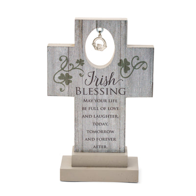 Irish Blessing Cross with Claddagh