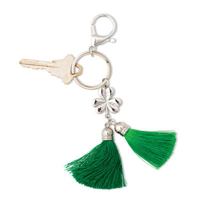 Green Tassel and Shamrock Keychain