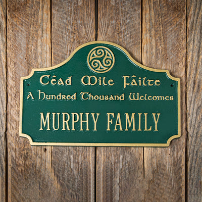 Personalized Cead Mile Failte Plaque