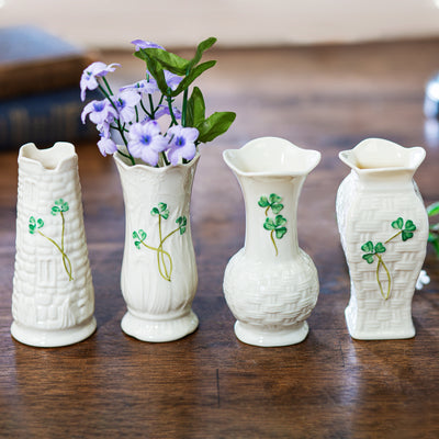 Belleek Shamrock Mini Vase Set