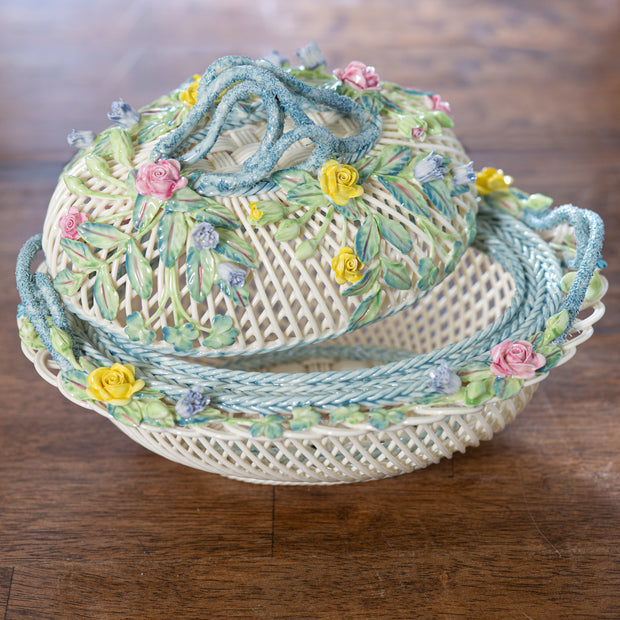 Belleek Oval Covered Basket