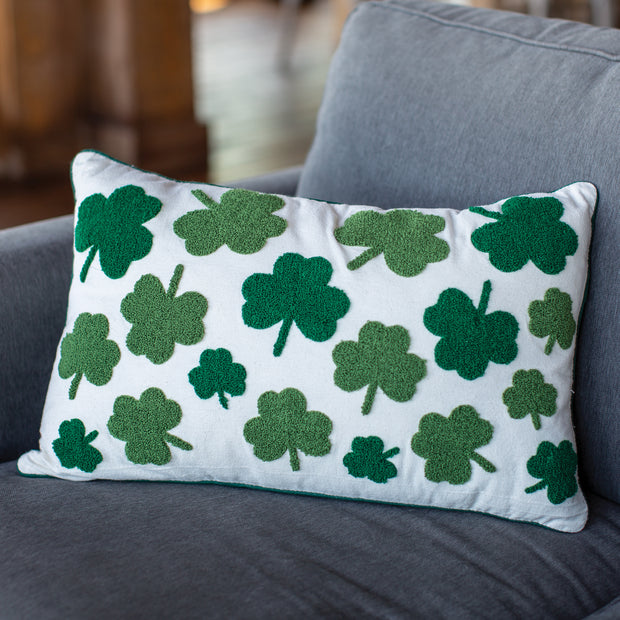 Flocked Shamrocks Pillow