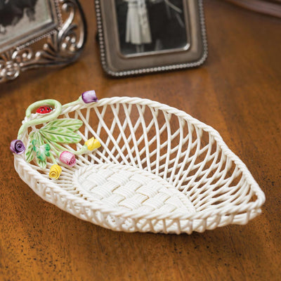 Belleek Rose Bud Leaf Basket