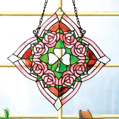 Irish Rose Stained Glass Panel