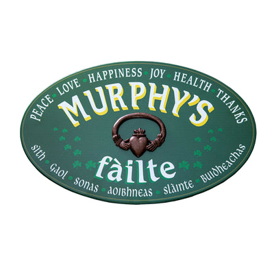 Personalized Fáilte Wood Sign