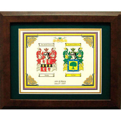 Personalized Double Family Name and Coat of Arms Framed Print