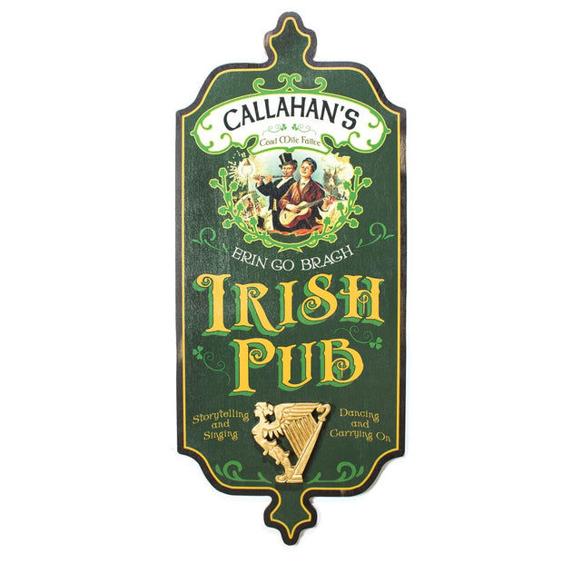 Personalized Irish Pub Sign with Harp
