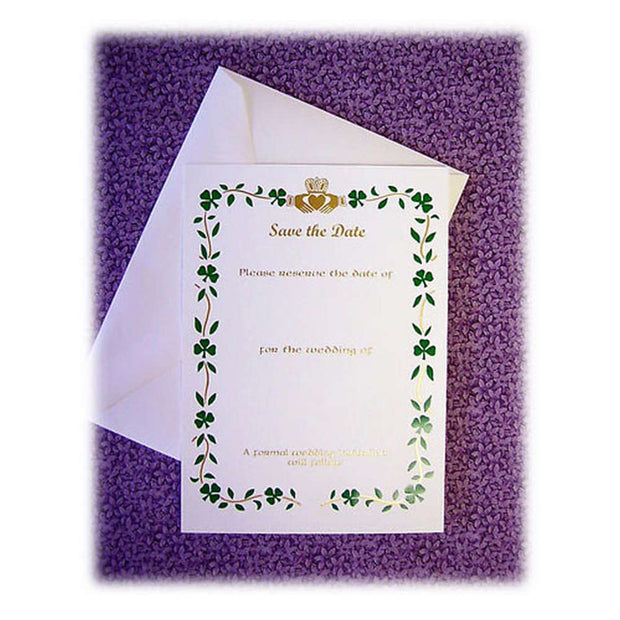 Claddagh And Shamrock Save The Date Cards
