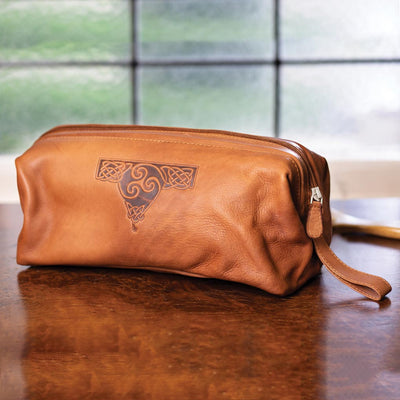 Celtic Leather Toiletry Bag