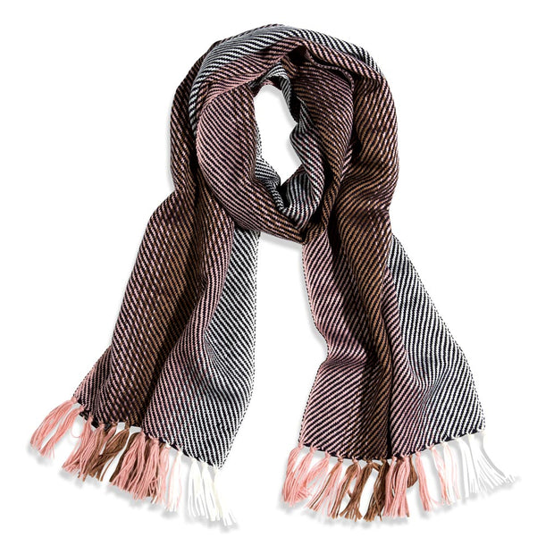 Pink Stripe Wool Scarf