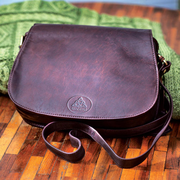 Leather Handbag with Embossed Trinity