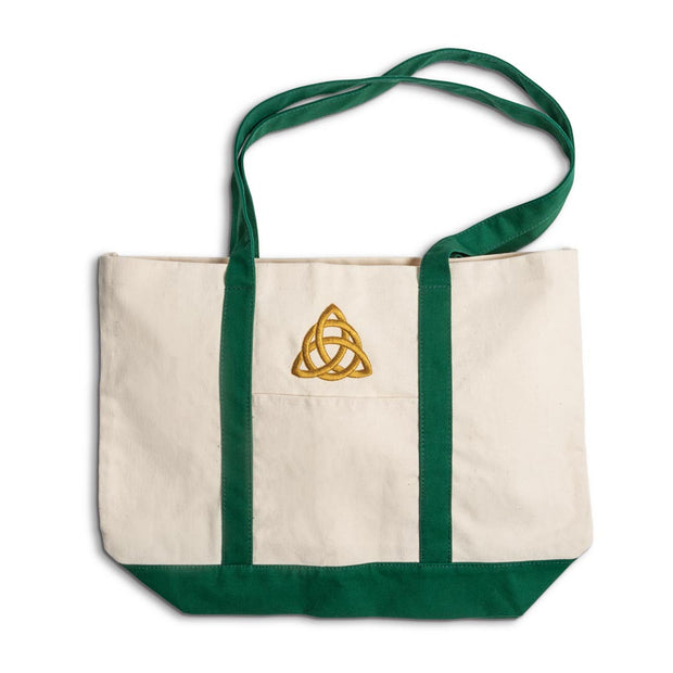 Canvas Tote with Embroidered Trinity
