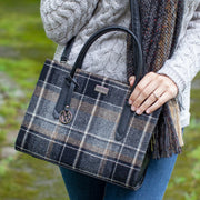 Black Plaid Aoite Handbag