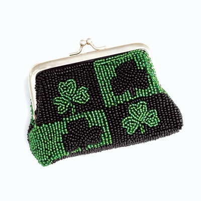 Beaded Shamrock Coin Purse