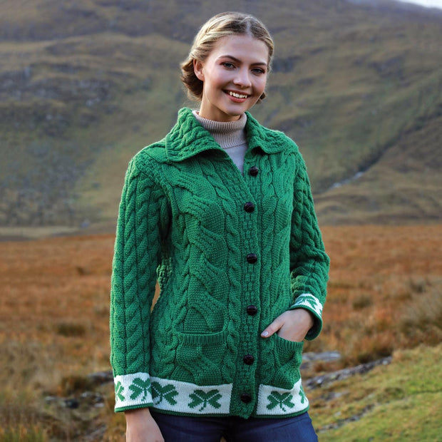 Green Button Up Cardigan with Shamrocks