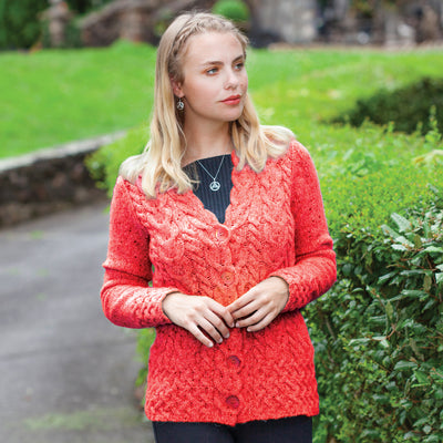 Horseshoe Cable Cardigan, Berry