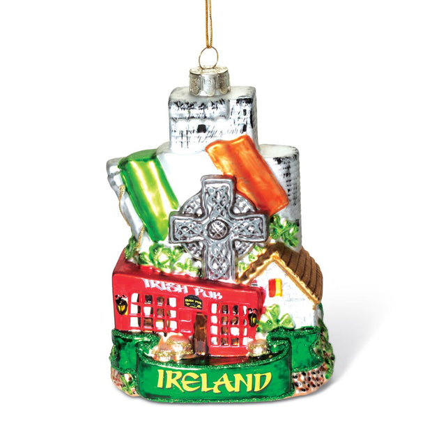 Ireland Cityscape Glass Ornament