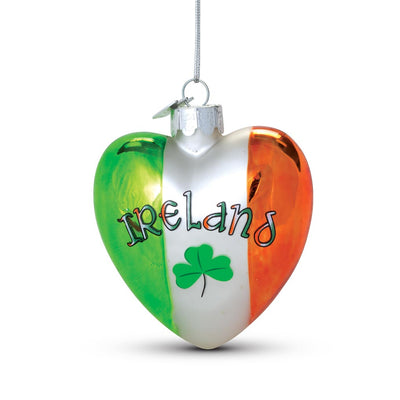 Ireland Glass Heart Ornament