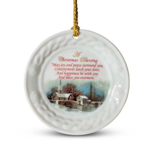 Belleek Christmas Scene Ornament