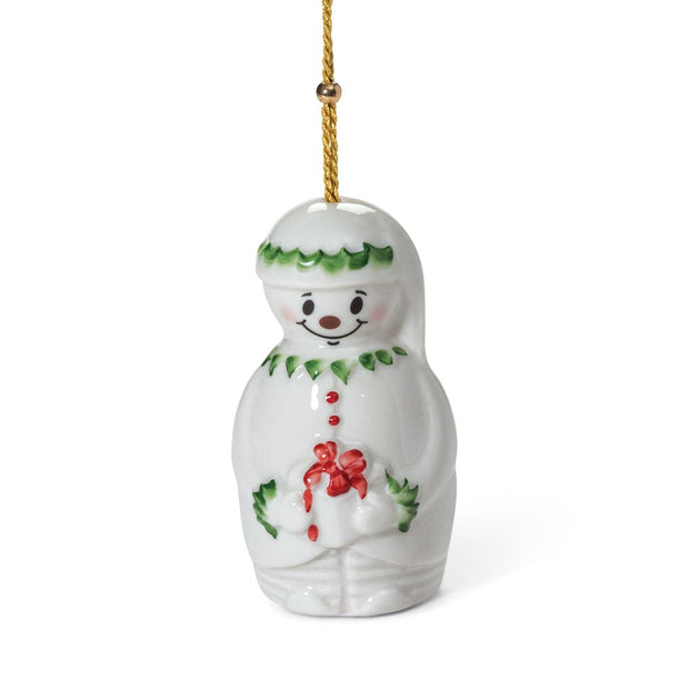 Belleek Snowman Bell Ornament