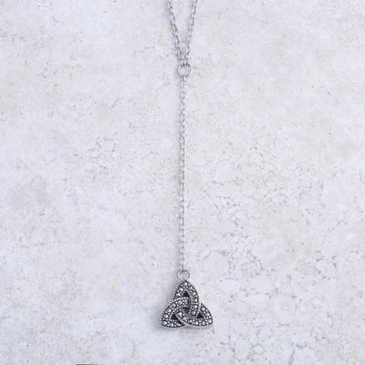 Marcasite Trinity Drop Necklace