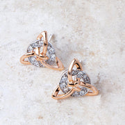 Two Tone Trinity Stud Earrings
