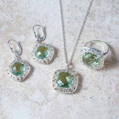 Green Amethyst and Filigree Trinity Knot Jewelry