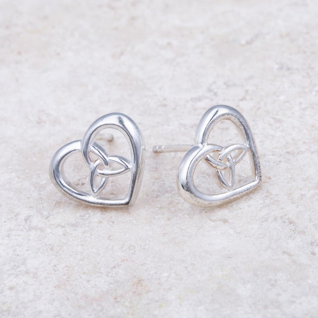 Heart with Trinity Stud Earrings