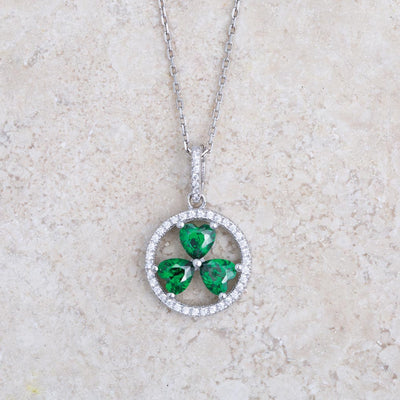 Shamrock in Circle Necklace