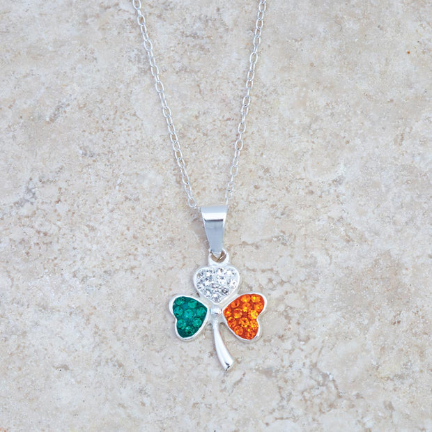 Irish Flag Shamrock Necklace