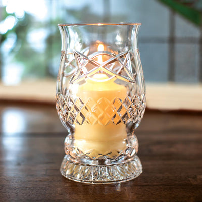 Galway Crystal Pillar Hurricane Lamp