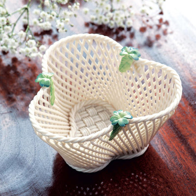 Belleek Four Leaf Clover Basket