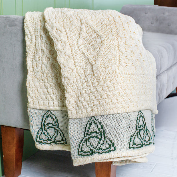 Natural Aran Throw with Green Trinity