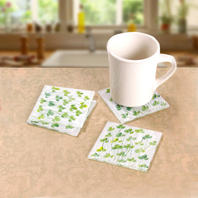 Glass Shamrock Coasters