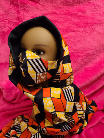 Reversible Headwrap with Matching Face Mask