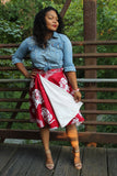 Red and White Elephants Short Wrap