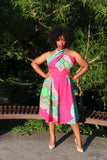Infinity Dress in Pink & Green