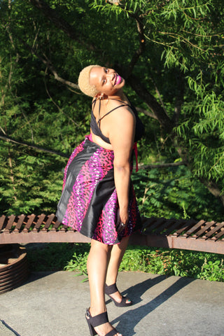 Ankara and Leopard (black, fuchsia, & purple) Short Wrap