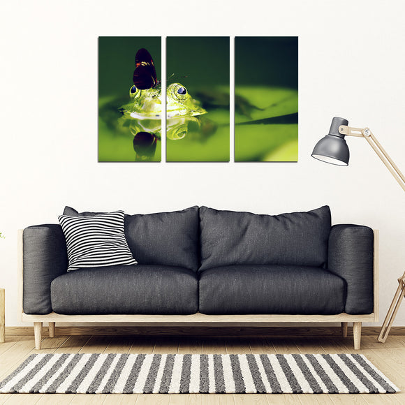 Butterfly and Frog 3 Piece Framed Canvas
