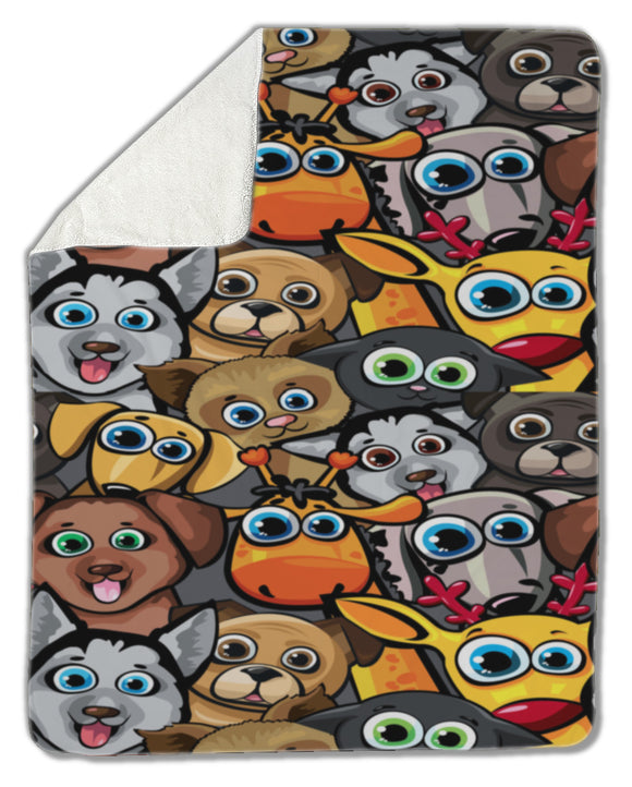 Blanket, Animal pattern with dogs, cat, deer and giraffe