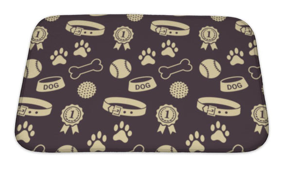 Bath Mat, Pattern With Dogs Stuff Collar Bowl Balls Bones Paw Prints And The Reward